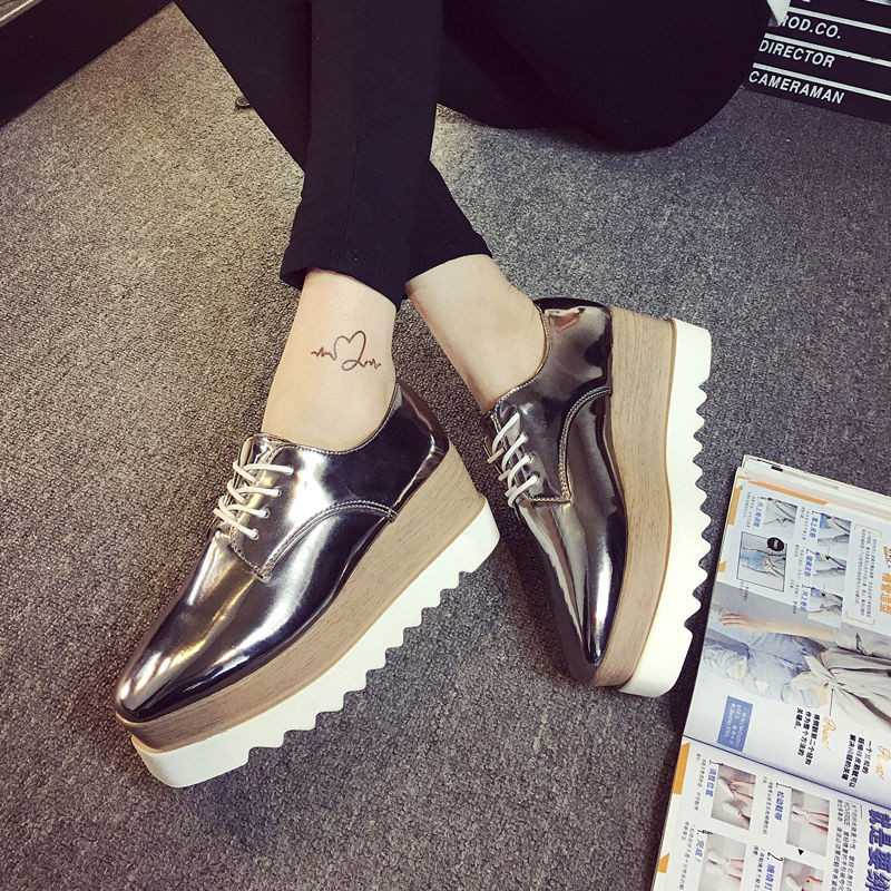04e51b2697c2 New Fashion Women s Shiny Lace Up Flats Double Platform Creepers ...