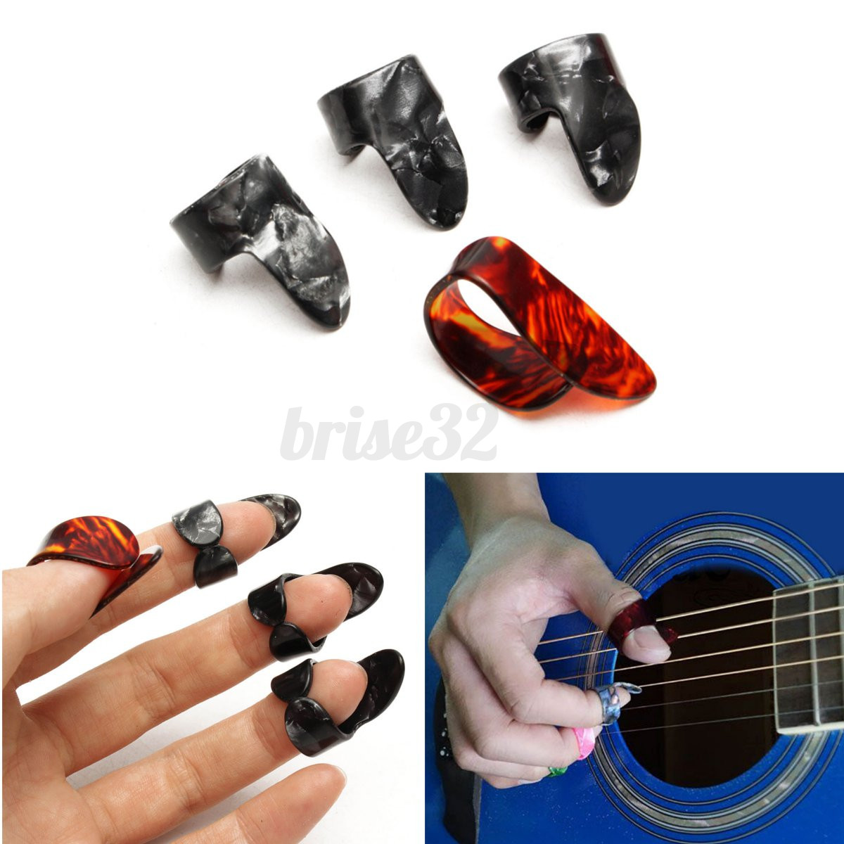 plastic adjustable 3 finger picks 1 thumb picks set nail guitar plectrums guitar. Black Bedroom Furniture Sets. Home Design Ideas