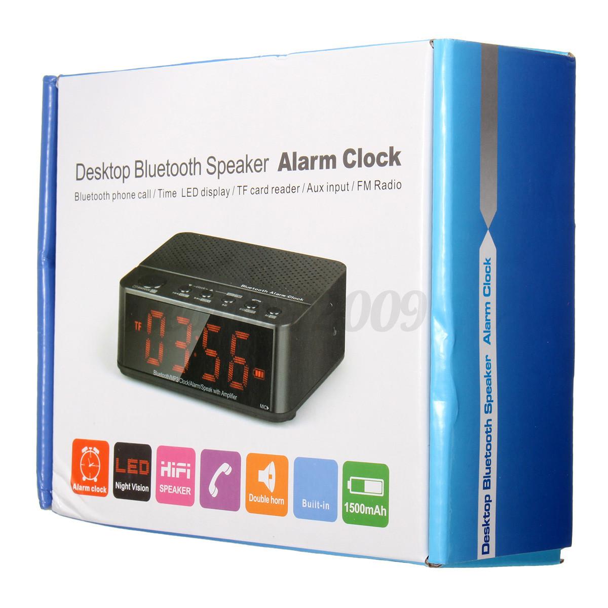 digital led display alarm clock bluetooth speaker fm radio mp3 player tf snooze ebay. Black Bedroom Furniture Sets. Home Design Ideas