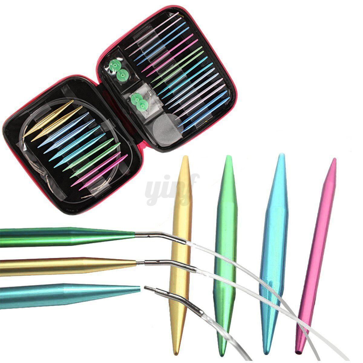 Knitting Needle Sets Uk : Sizes interchangeable aluminium circular knitting