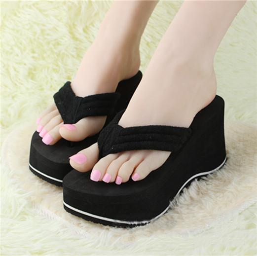 0f549fbdadf586 New Women s Platform Flip Flops Wedges Sandals High Heels Skidproof ...