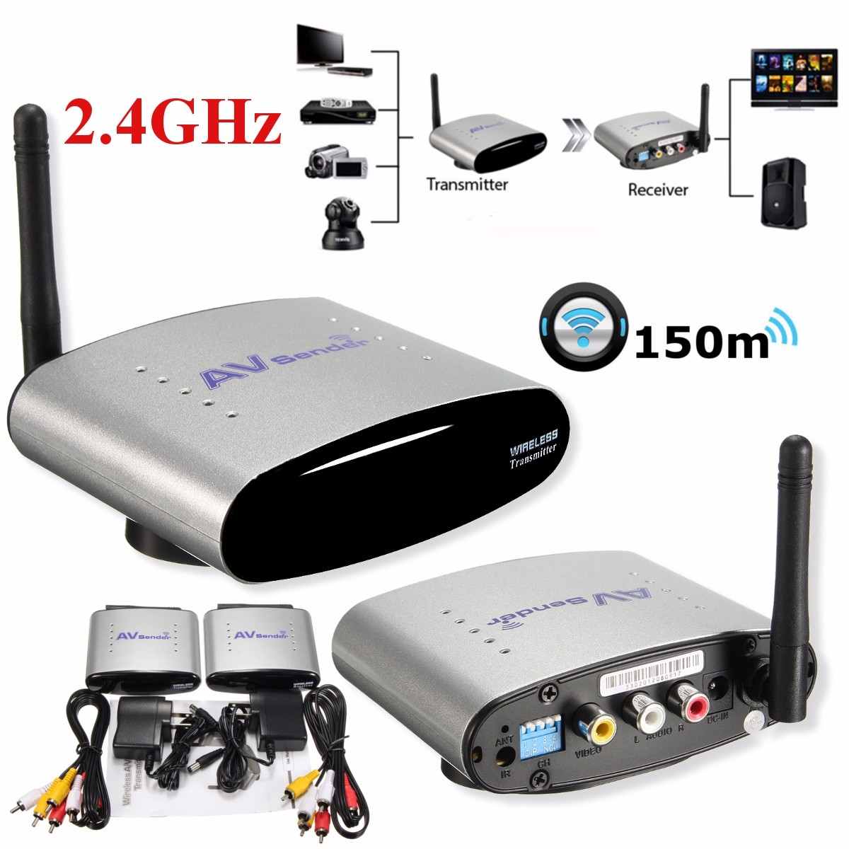 2 4ghz 150m wireless av sender stb tv audio video signal transmitter receiver ebay. Black Bedroom Furniture Sets. Home Design Ideas