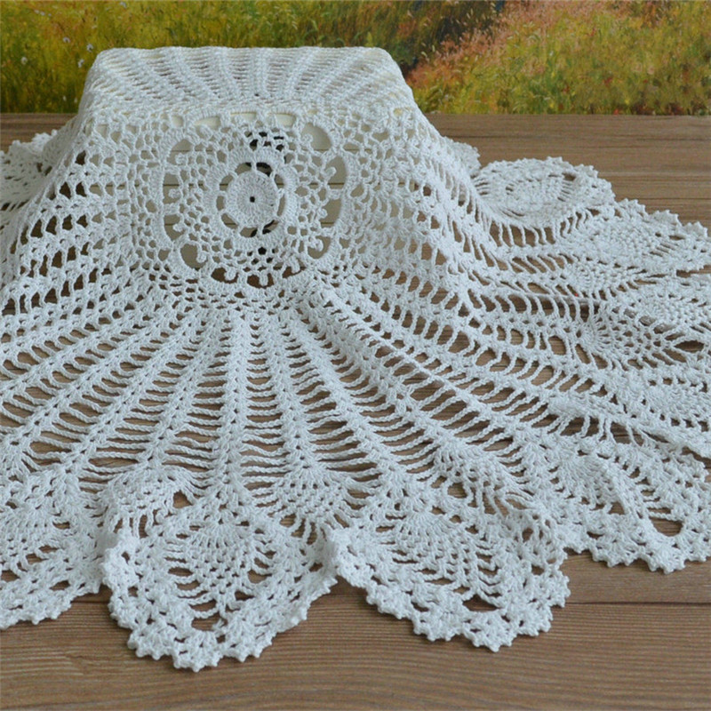 Vintage lace round crochet tablecloth table cover handmade for Lace home decor