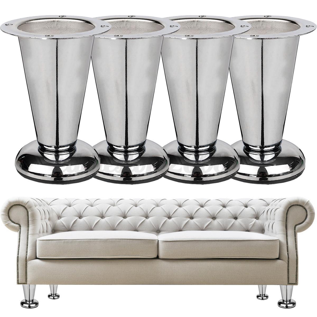 4 39 39 metal chrome taper furniture sofa leg wardrobe bed for Sofa bed 4 foot