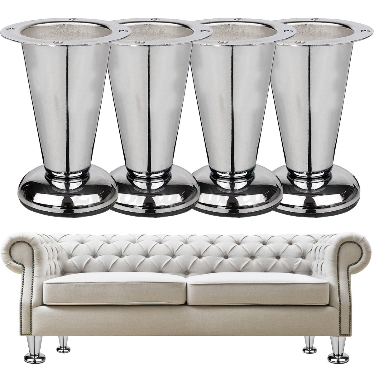 1 4x 4 39 39 Chrome Taper Furniture Sofa Plinth Leg Modern Wardrobe Replacement Feet Ebay