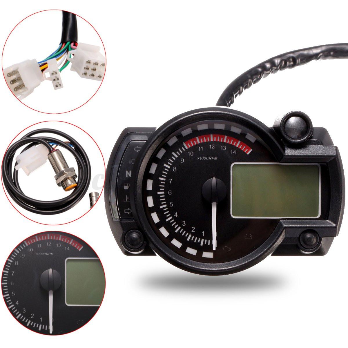 Universal Digital Lcd Backlight Motorcycle Speedometer