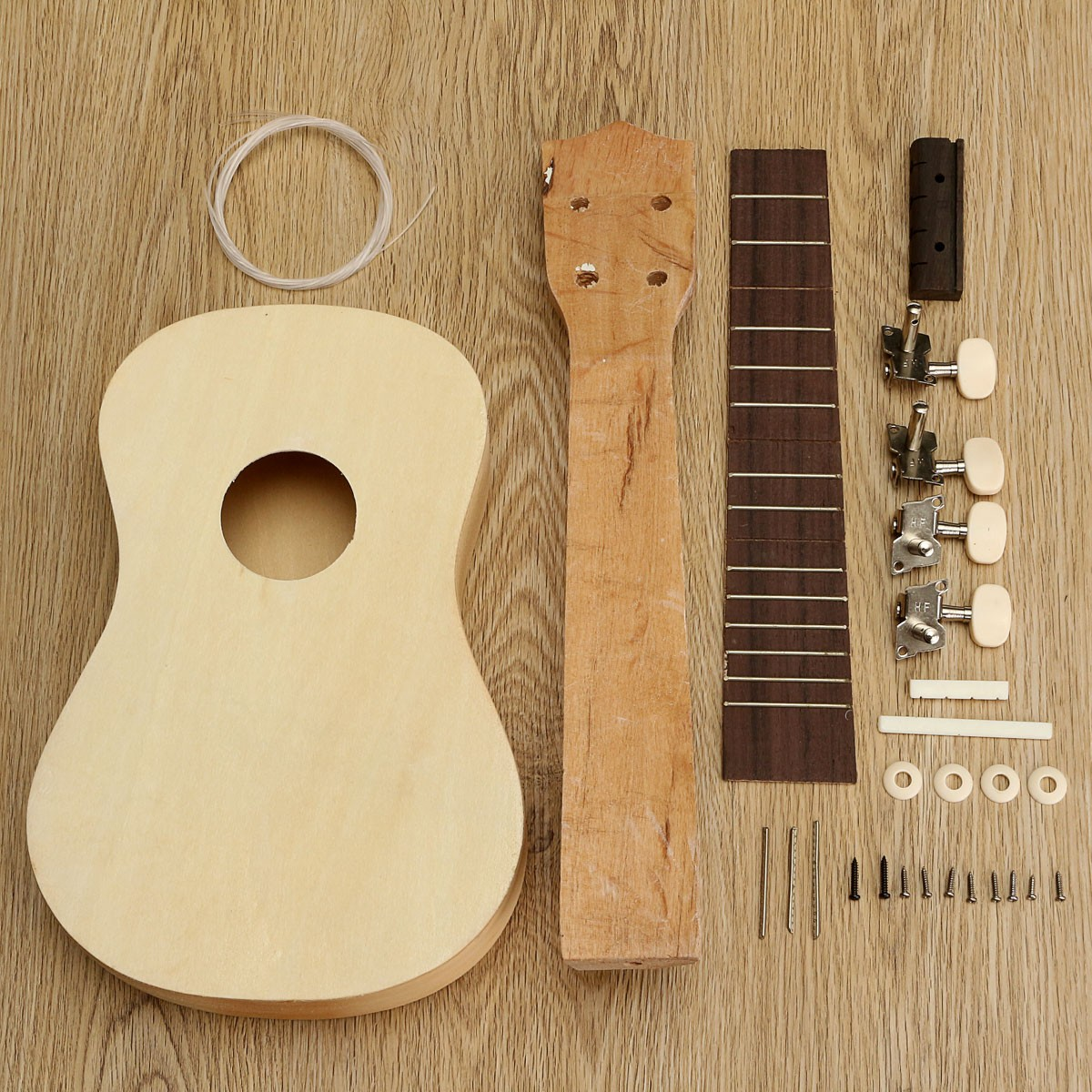 21 self build ukulele diy soprano hawaii ukulele kit musical instrument gift ebay. Black Bedroom Furniture Sets. Home Design Ideas