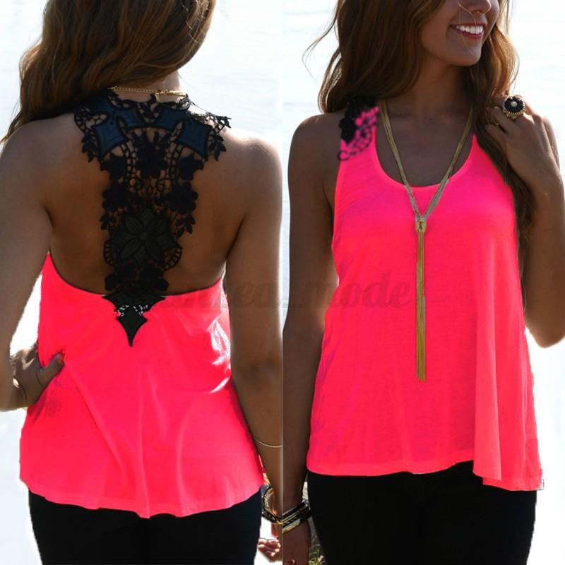 ZANZEA-Women-Shirt-Tee-Off-Shoulder-Tank-Tops-Lace-Crochet-Patchwork-Blouse-US miniature 9