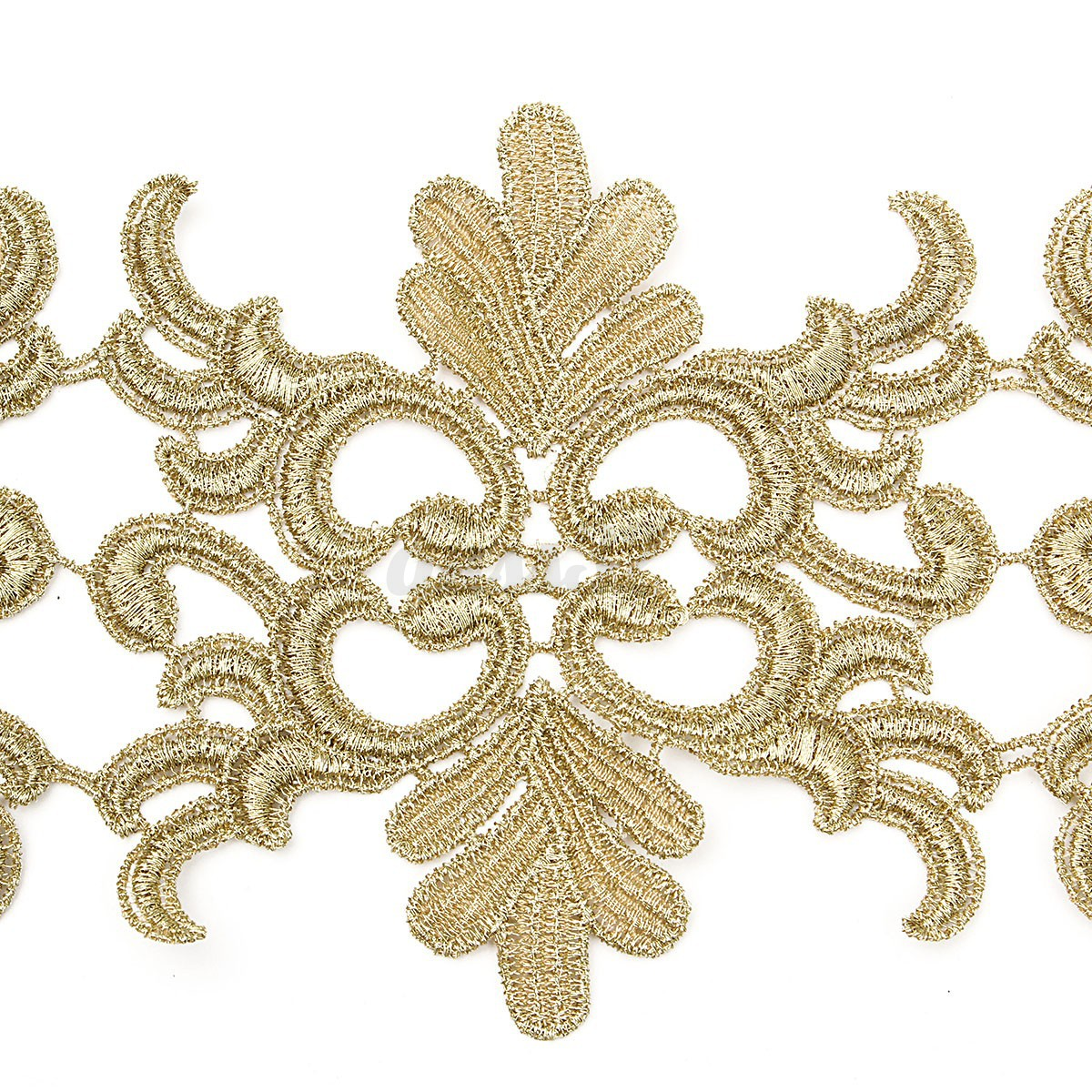 Floral leaf gold metallic embroidered baroque lace