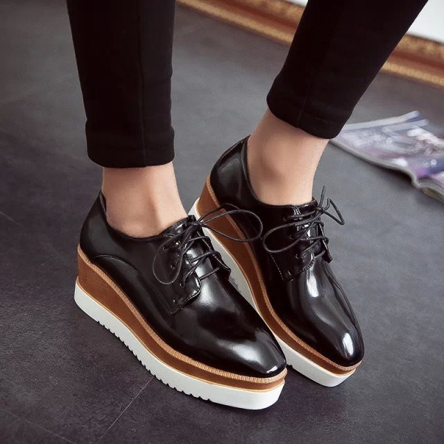 Womens Square Toe Lace Up Platform Wedge Creeper