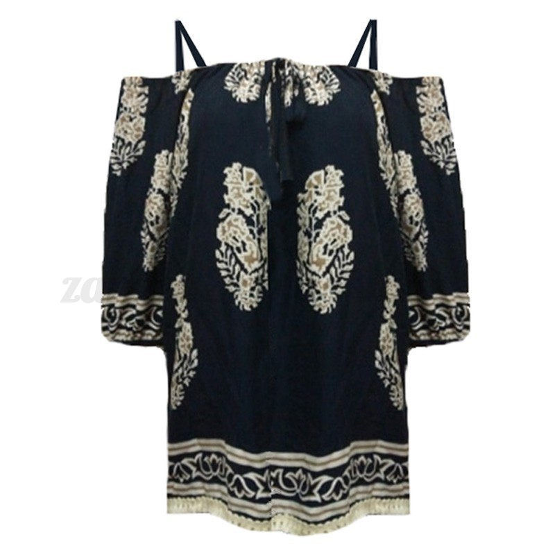 ZANZEA Women Off Shoulder Floral 3/4 Sleeve Strappy Boho Tops T Shirt Blouse