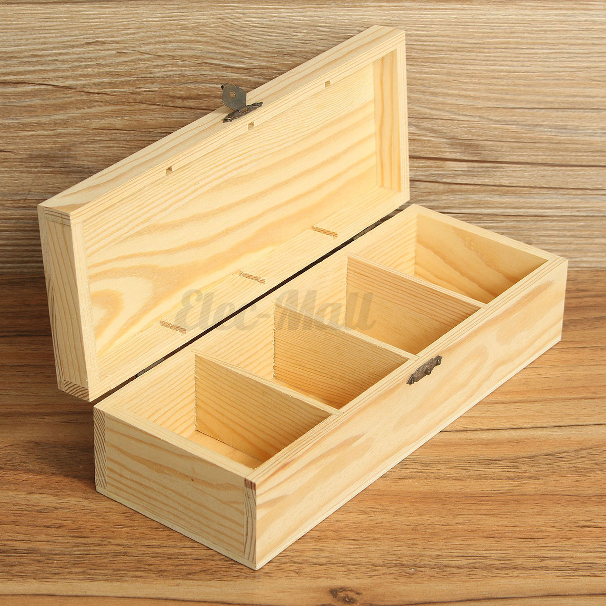 4 compartments wooden tea bag jewelry organizer chest storage box glass top log. Black Bedroom Furniture Sets. Home Design Ideas