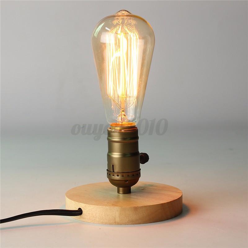 E27 Vintage Industrial Table Edison Light Bulb Desk Wood