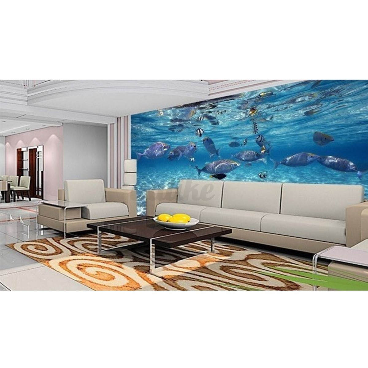 3d wallpaper bedroom mural roll modern luxury sea world for Bedroom wallpaper designs india