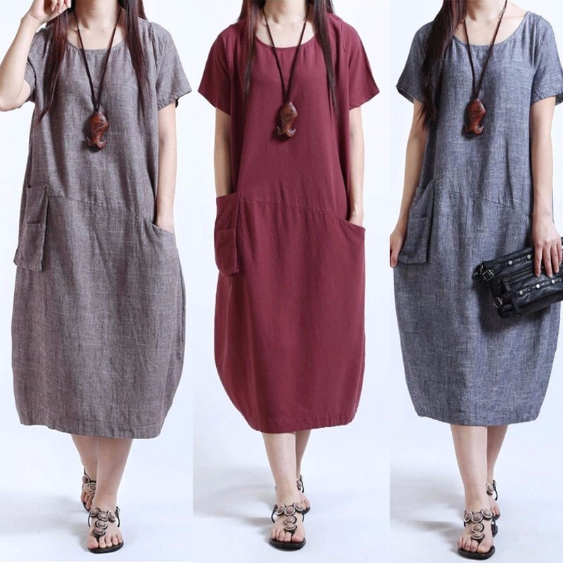 e7d0a86cdf03 Oversize Women Short Sleeve Summer T-Shirt Shirt Dress Casual Midi ...