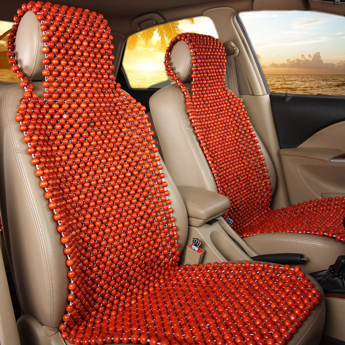 Zento Deals Cool Vehicle Wooden Beads Massage Back Support Comfort Beaded Car Seat Cover