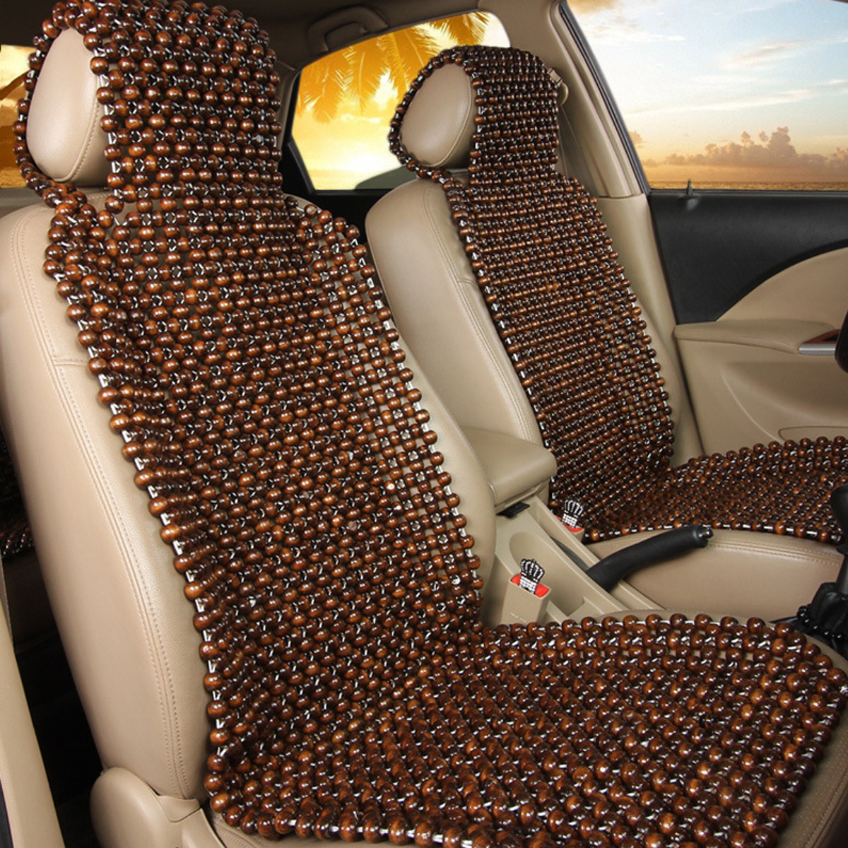 2 x BLACK WOODEN BEAD BEADED CAR TAXI VAN CHAIR MASSAGE SEAT PAIR CUSHION COVER