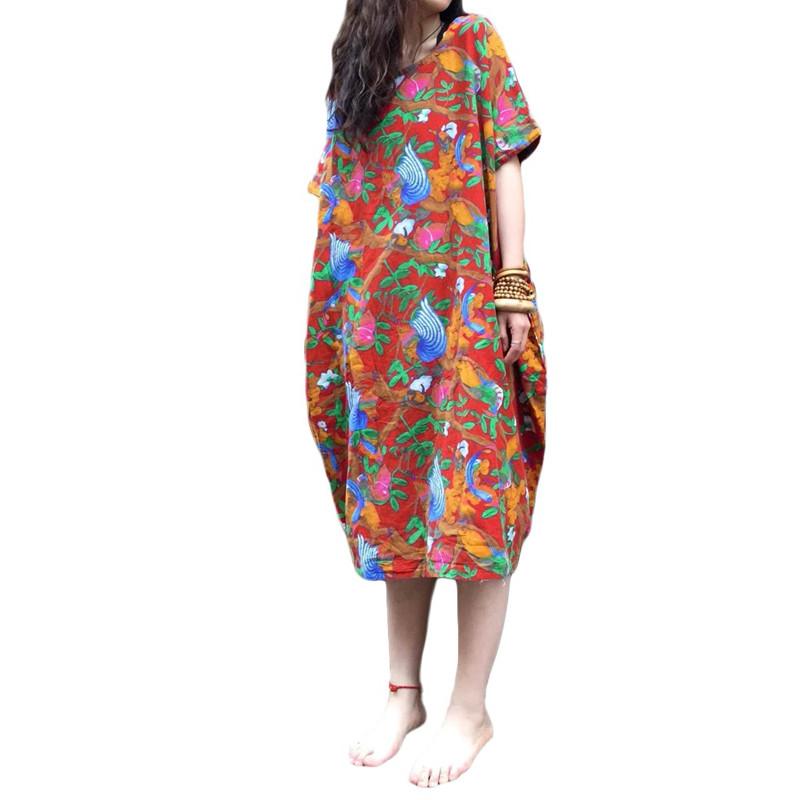 AU-8-24-Women-Vintage-Boho-Short-Sleeve-Sundress-Oversized-Midi-Floral-Dress