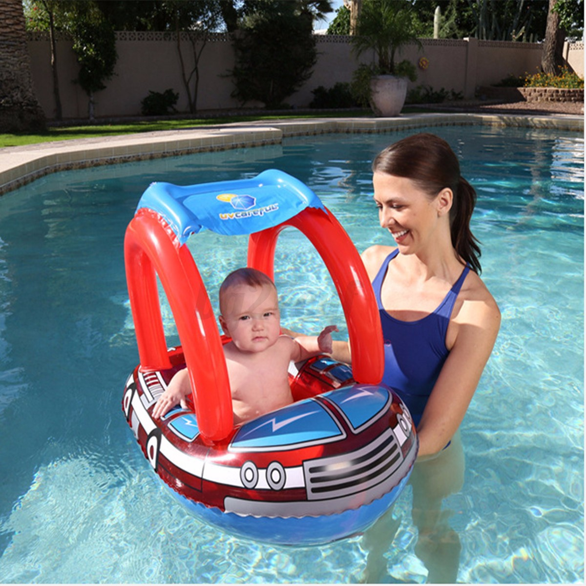 Inflatable Baby Toddler Infant Sunshade Swimming Pool Swim Seat Float Boat Ring