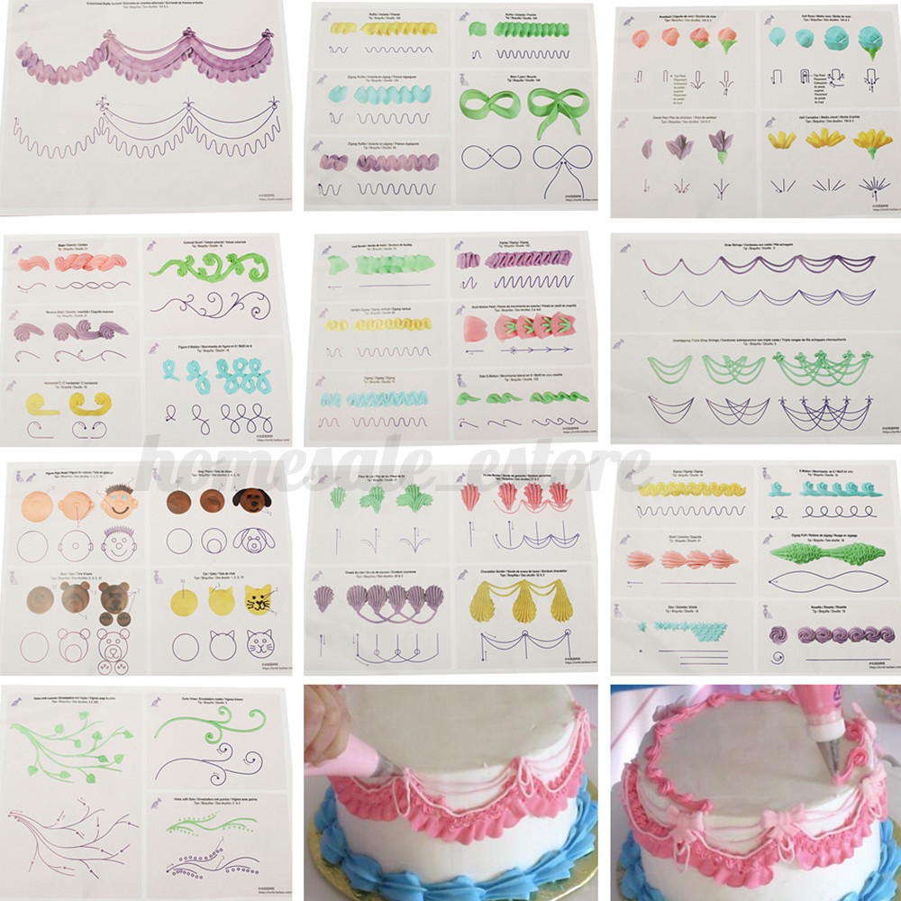 Cake Decorating Practice Frosting : Cake Icing Piping DIY Practice Drawing Board Template ...