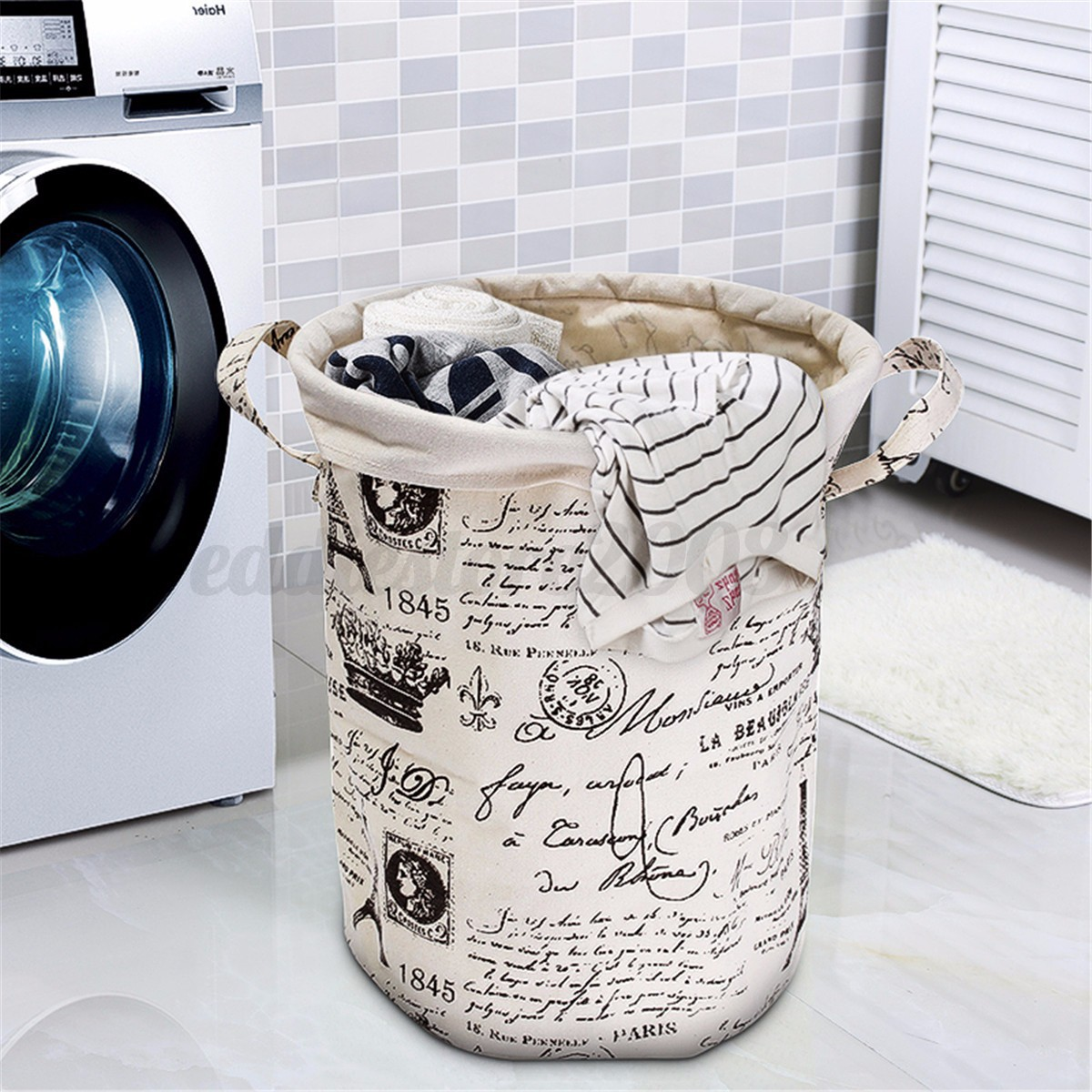 Foldable Cotton Linen Laundry Washing Clothes Basket Hamper Storage ...
