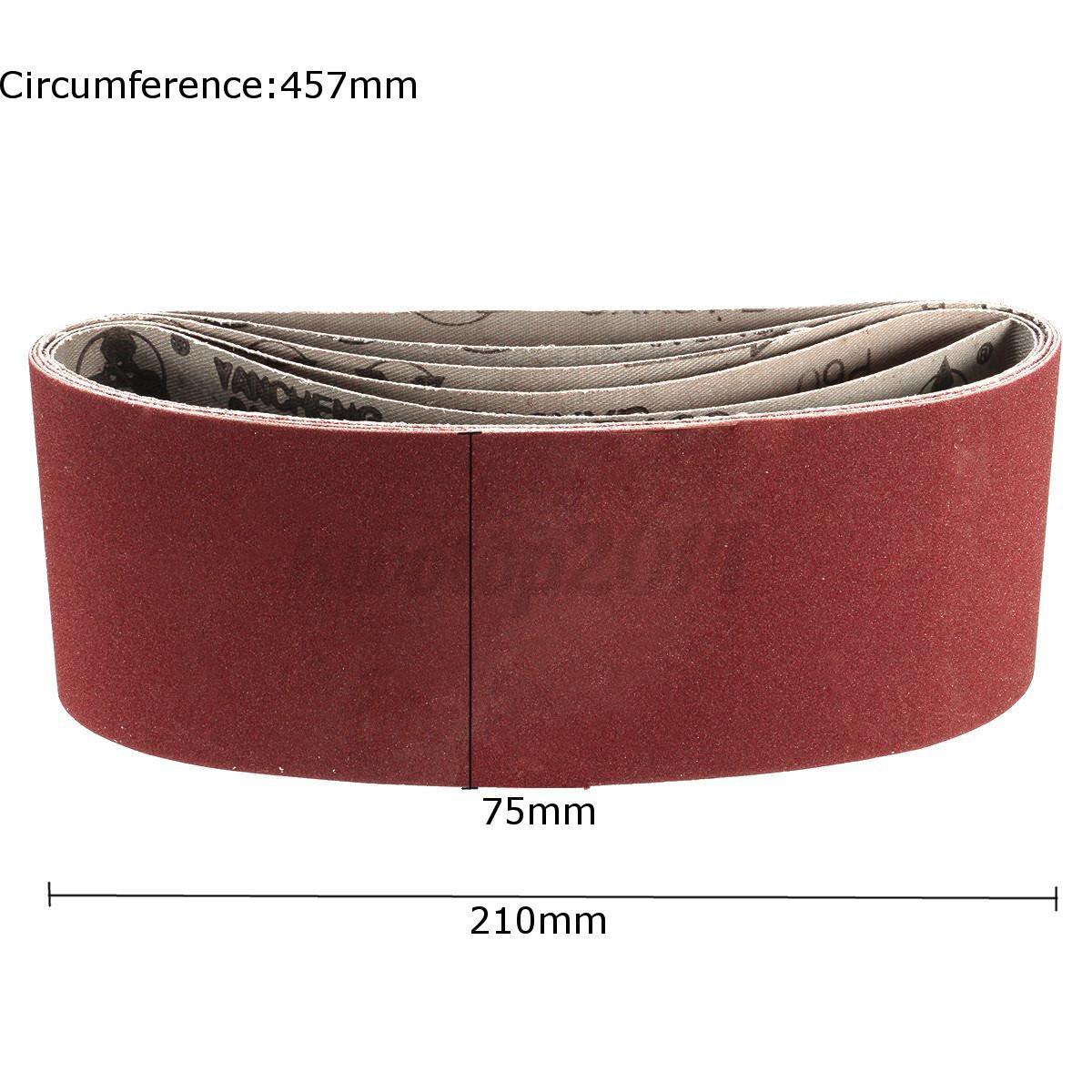5x 75x457mm 3 x18 Sanding Belts Mixed Grits 60 80 100 120 240 Sand  #793434
