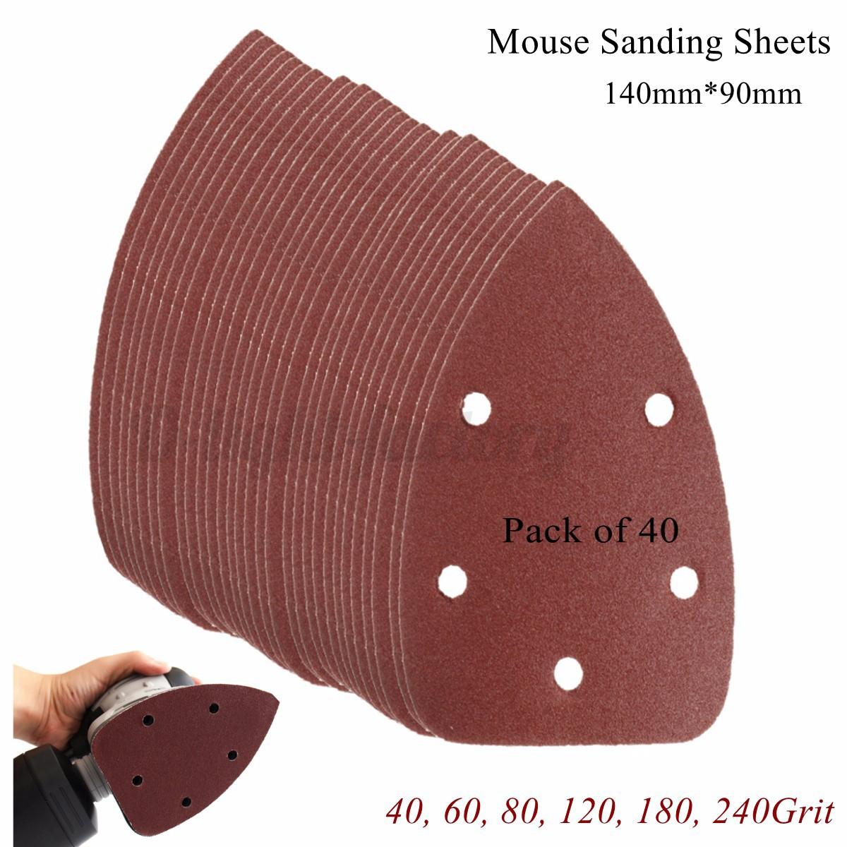 40x mouse sanding sheets paper 40 240grit fit black. Black Bedroom Furniture Sets. Home Design Ideas