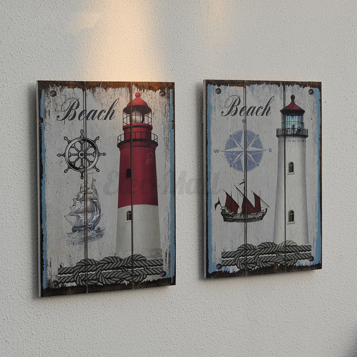 Vintage Wooden Signs Home Decor: Vintage Wood Sign Plaque Cafe Bar Wall Picture Nautical