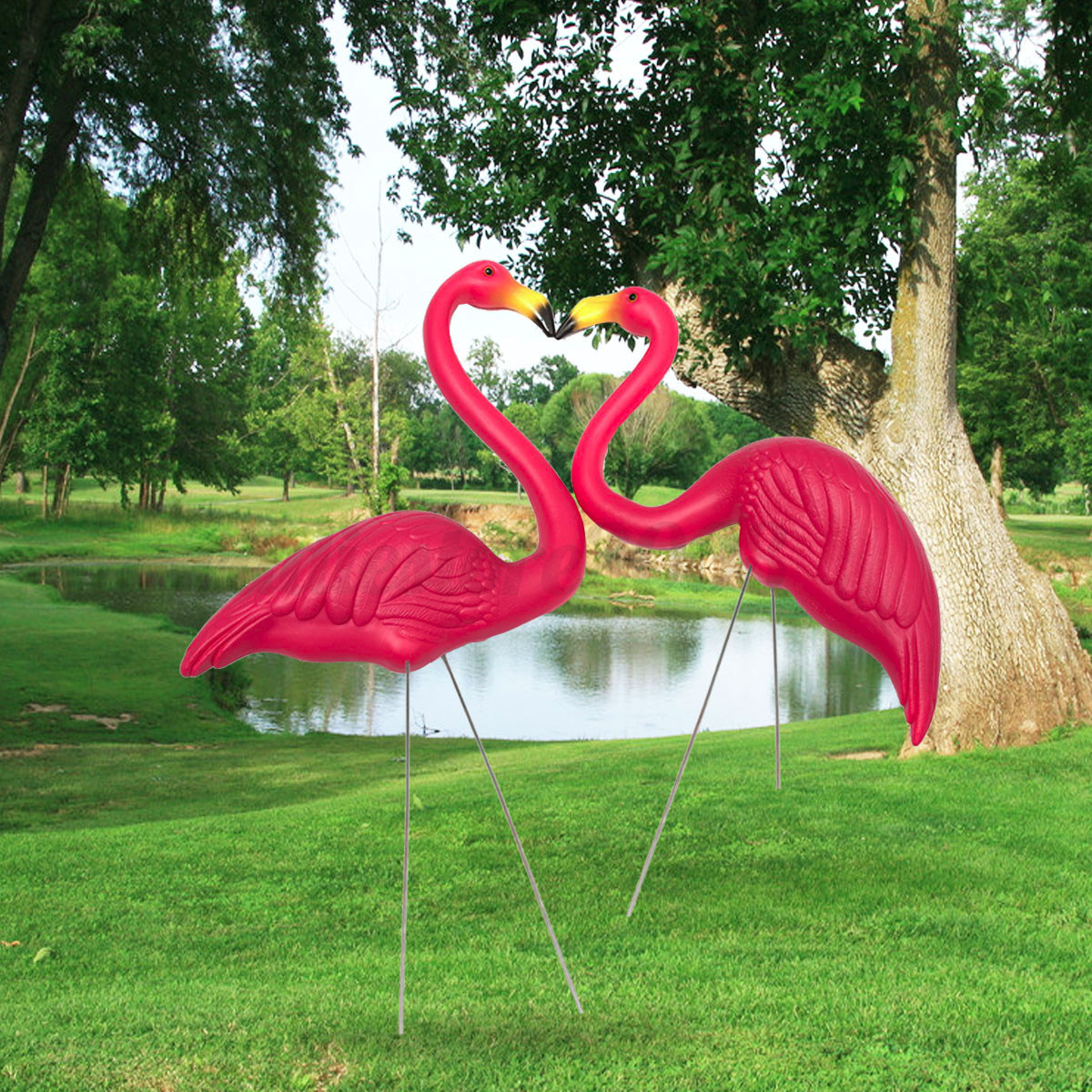 1 pairs of pink flamingos plastic yard garden lawn art for Lawn and garden ornaments