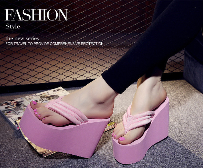 e4164b1ed21f40 Women s Sexy High Heels Flip Flops Slippers Wedge Platform Antiskid ...