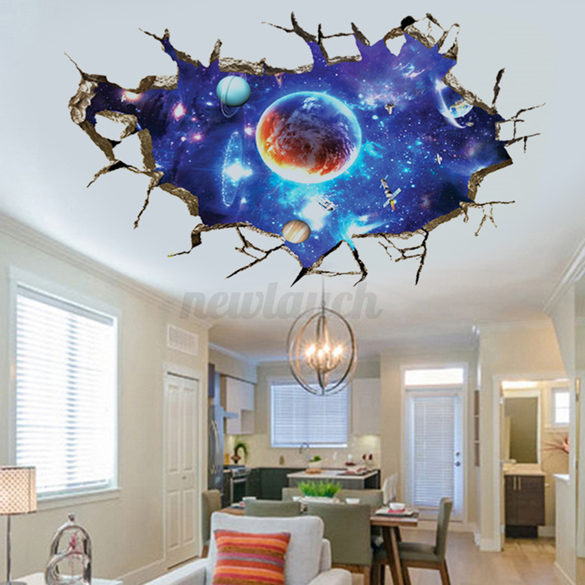 3d planet outer space wall stickers home decor mural art for Wall decor outer space