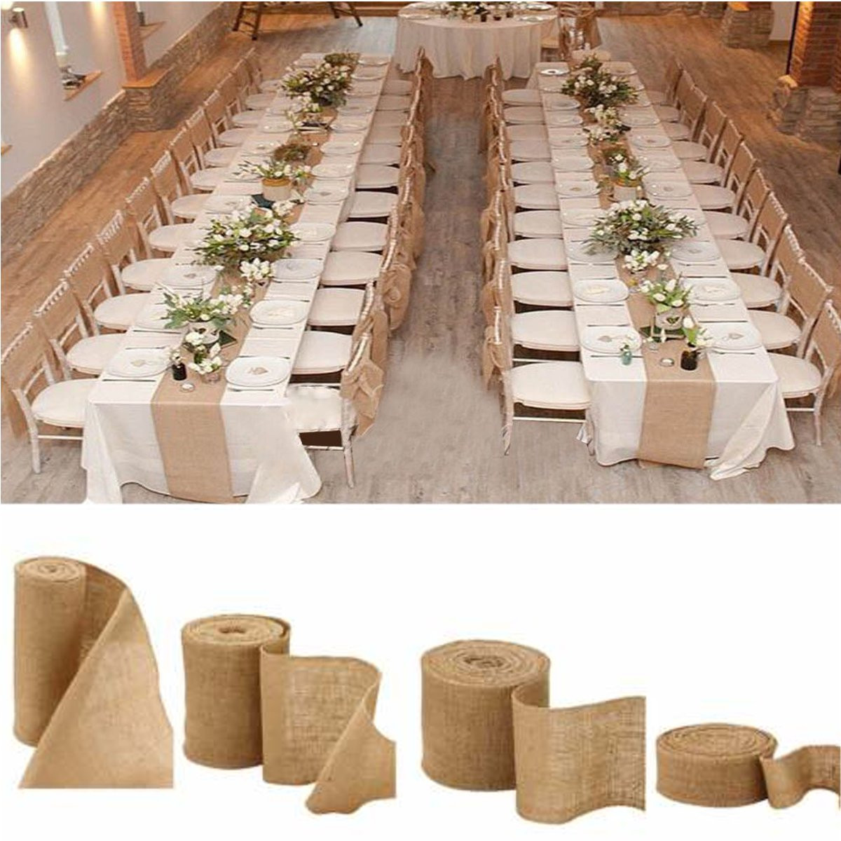 Crafts 10 M  Natural Jute Burlap with  Ivory Lace Ribbon for Arts Wedding