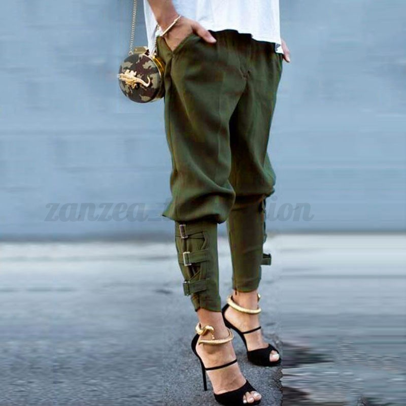 zanzea women baggy military plus buckles slouch skinny slim trousers long pants ebay. Black Bedroom Furniture Sets. Home Design Ideas