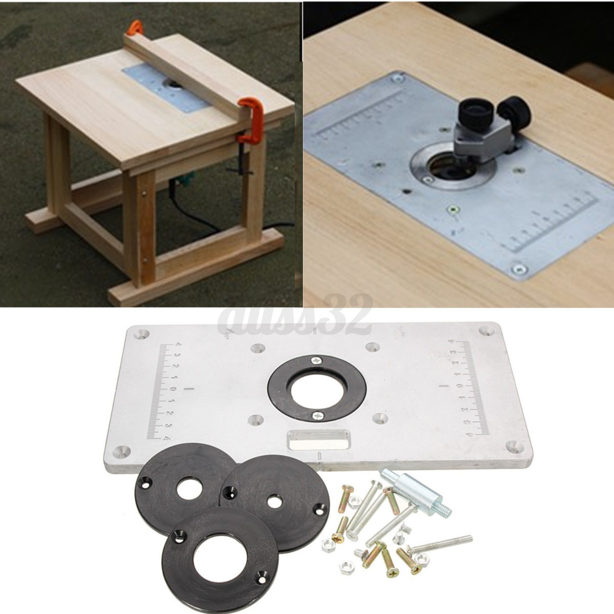 Aluminum metal sliver router table insert plate insert rings diy detail image keyboard keysfo
