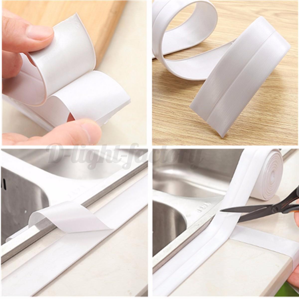 X 22mm bath kitchen wall sealing strip sealant tape sink basin edge trim ebay for Best sealant for bathroom sink