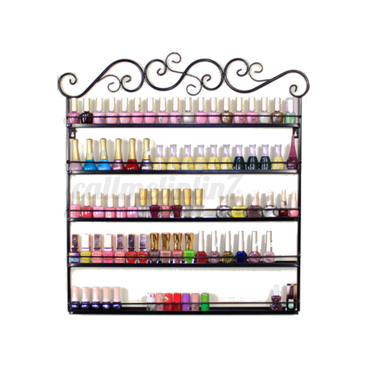 5 Tier Metal Wall Mounted Nail Polish Holder Display Wall Shelf Organizer Rack