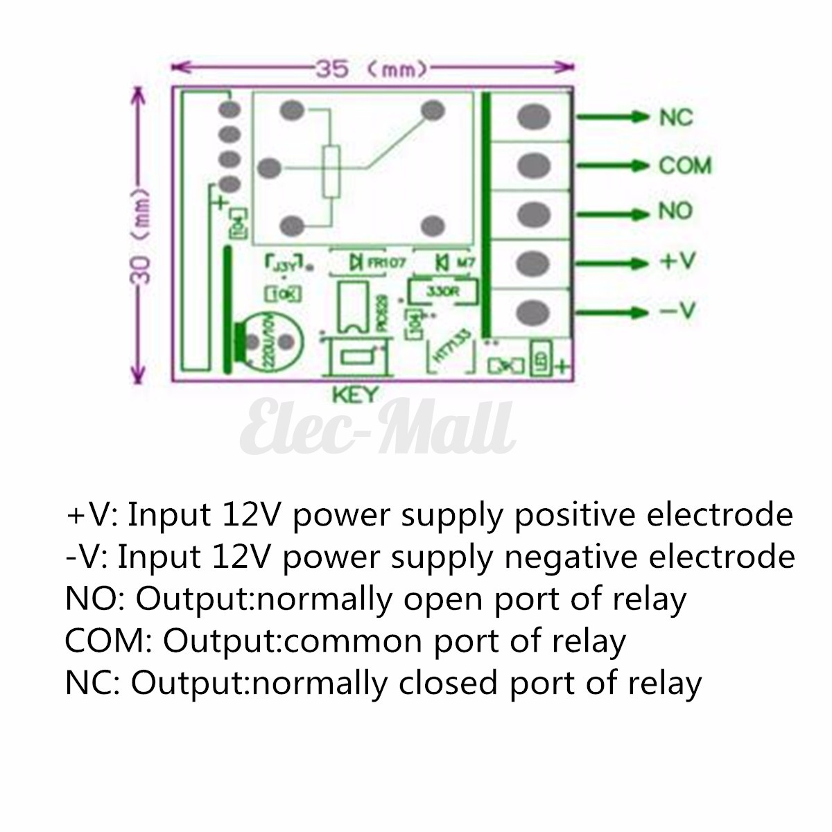 CH Channel Wireless RF Remote Control Receiver Relay - Normally open normally closed common relay