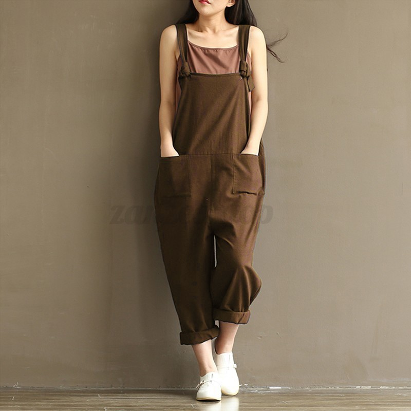 Women Casual Loose Cotton Jumpsuit Strap Dungaree Trousers ...
