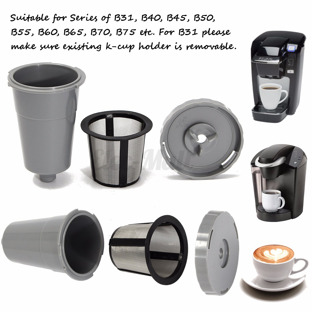1-8 Pack K-Cup Reusable Coffee Filter Suit Refillable Holder For Keurig Machines eBay