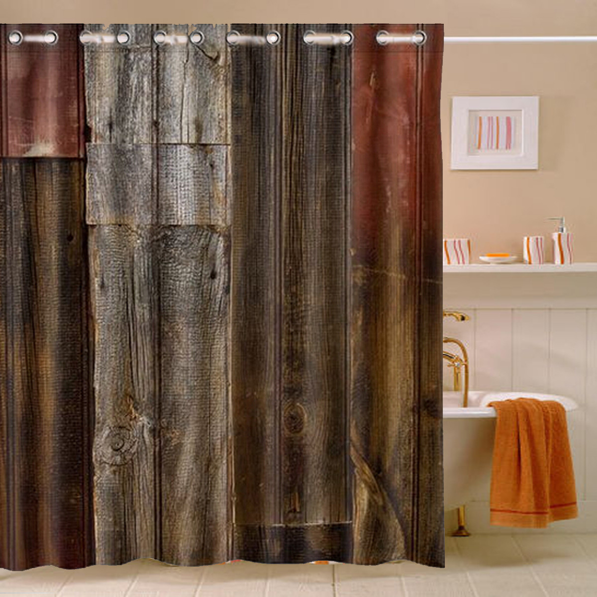 rustic bathroom shower curtains rustic barn wood waterproof polyester shower curtain 20271