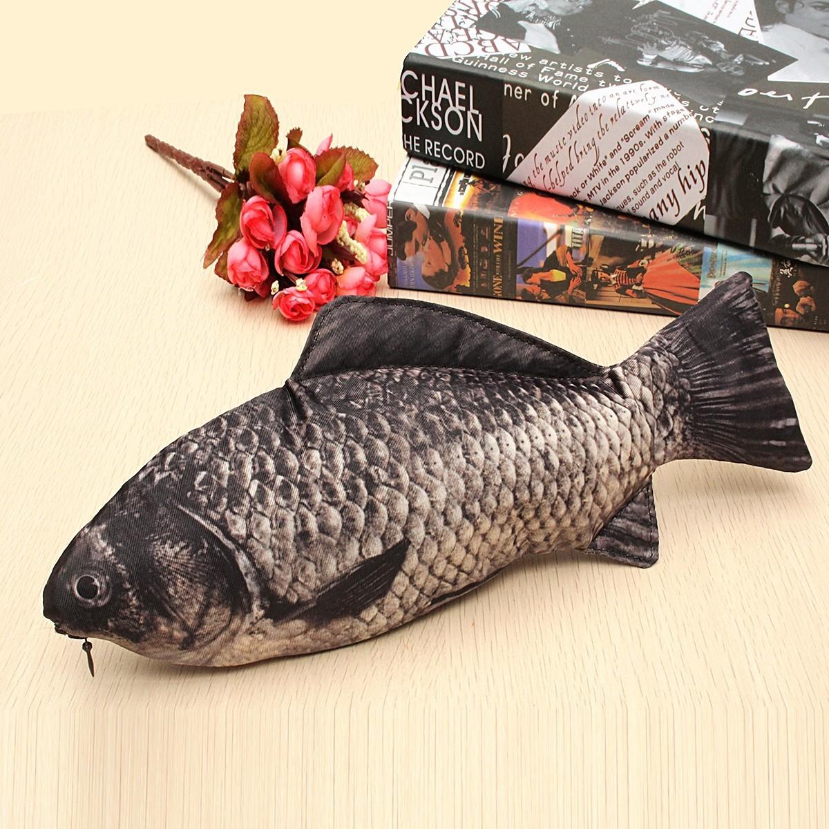 Silver carp fish like zipper pen make up pouch pencil for Realistic fish pencil case