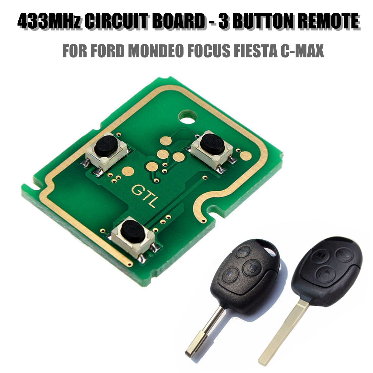 FORD 3 BUTTON CAR KEY remote fob case cover complete circuit board