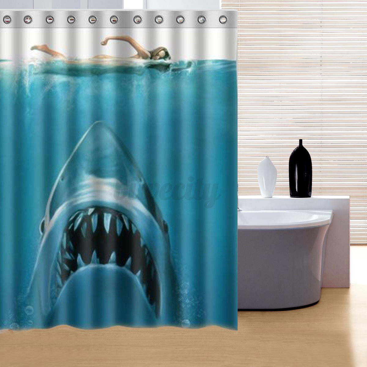 Waterproof shark underwater jaws polyester bath shower curtain 60 x 72 w hook ebay for How do sharks use the bathroom