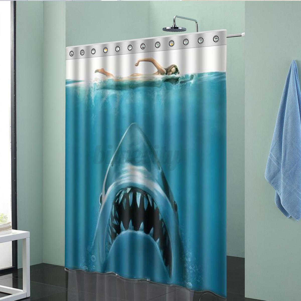 Waterproof Shark Underwater Jaws Polyester Bath Shower Curtain 60 X 72 W Hook Ebay