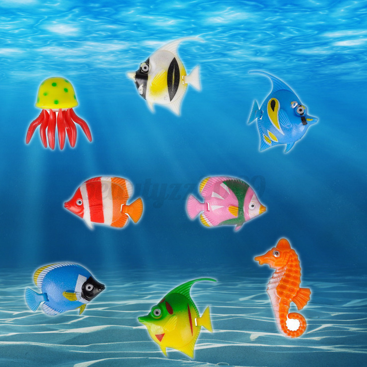 8pcs Wind Up Swimming Fish Animal Toy For Kids Baby