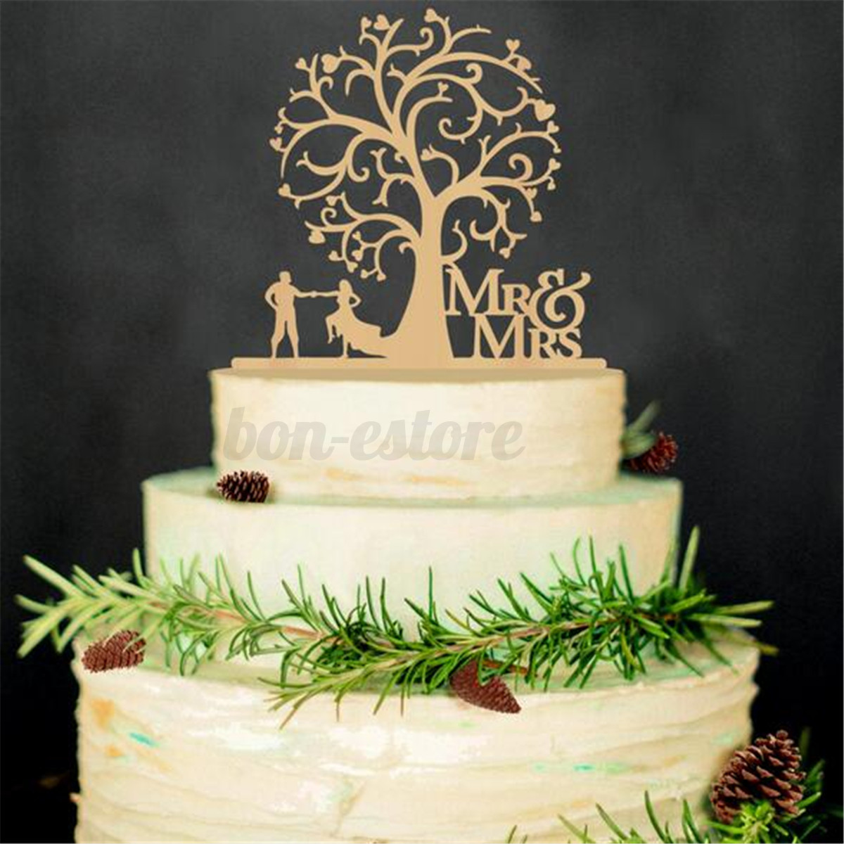 Wooden Cake Topper Picks Rustic Wedding Party Table