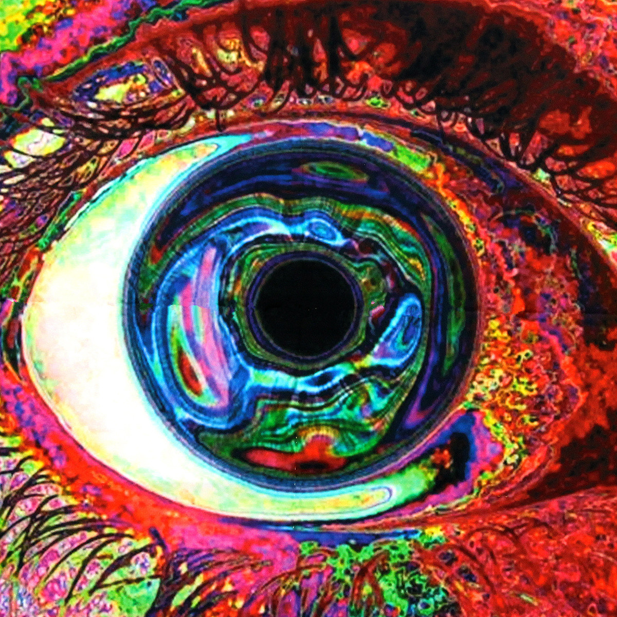 psychedelic trippy colorful eye art silk cloth poster 24 x