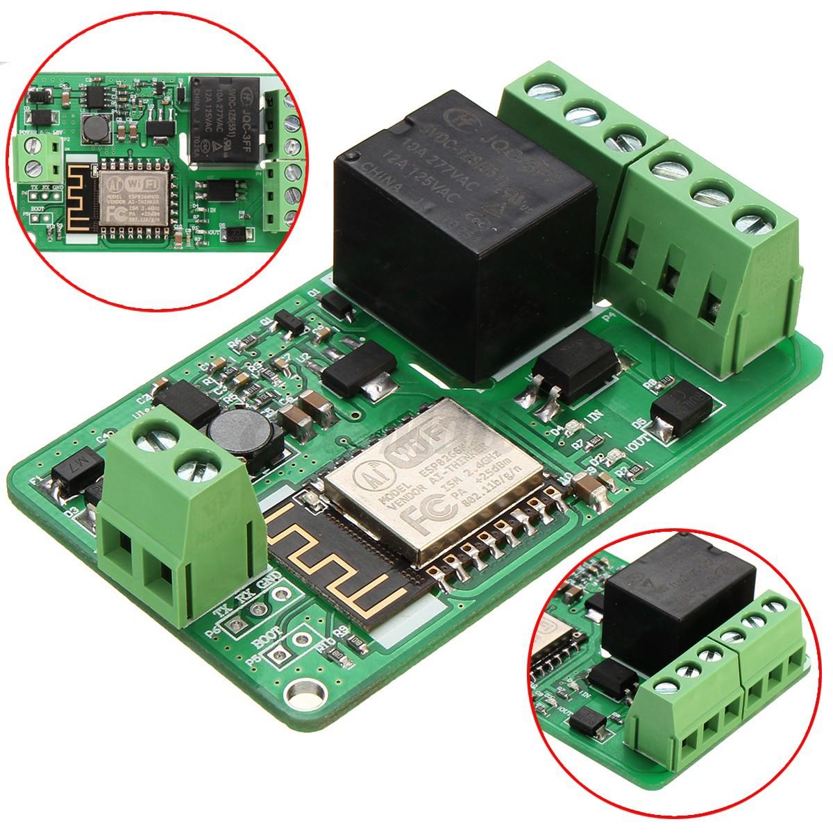 1pcs Green Esp8266 10a 220vwork Relay Wifi Module Input Dc 7v~30v