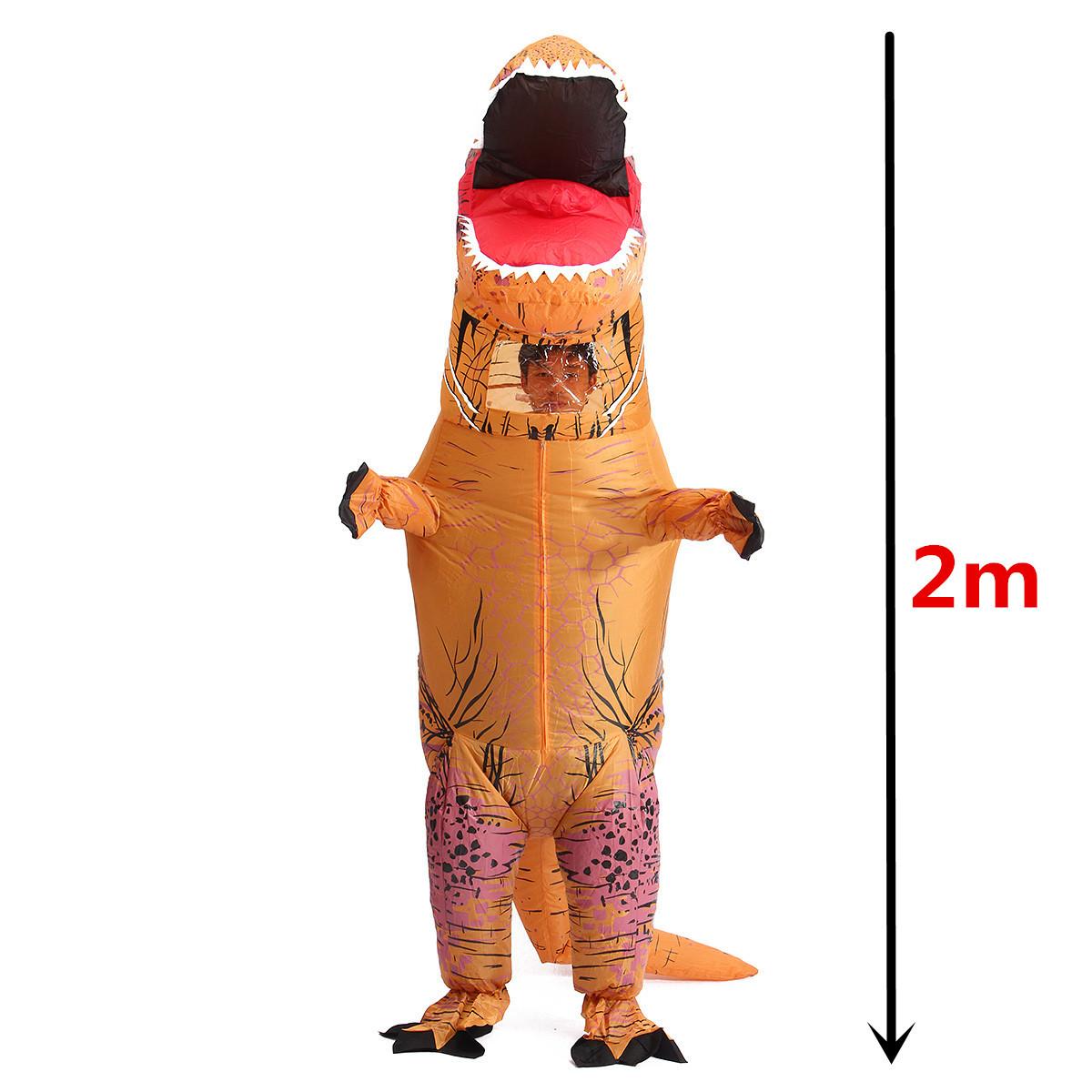 aufblasbar kost m dinosaurier t rex verkleidung karneval erwachsen 2m orange ebay. Black Bedroom Furniture Sets. Home Design Ideas