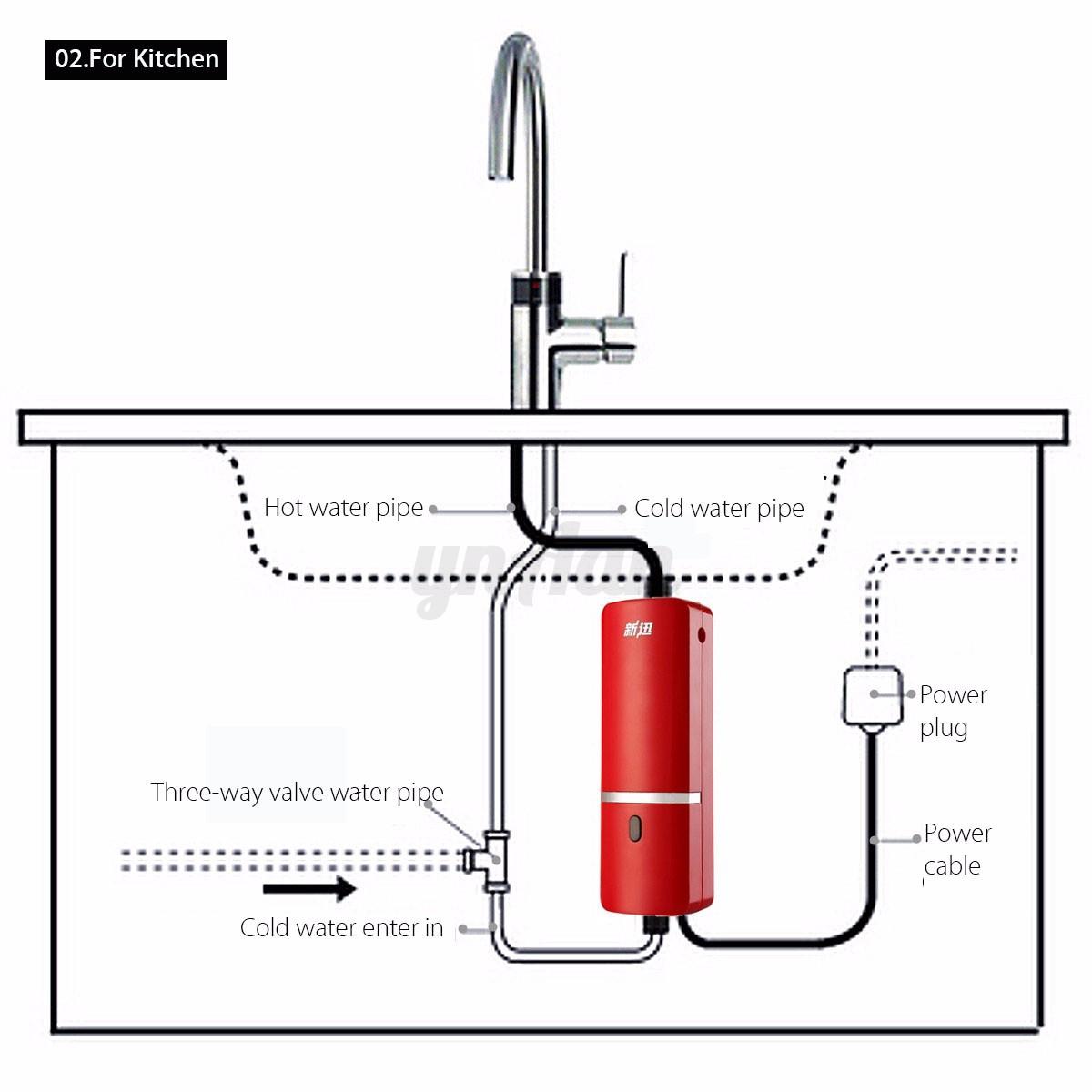 Kitchen Instant Hot Water System : Bathroom kitchen electric instant hot water system